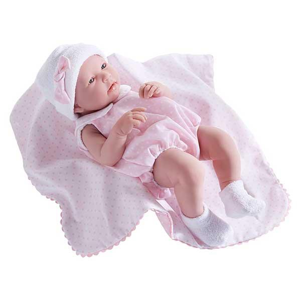 Muñeca Newborn Vestido Rosa y Mantita 43cm - Imagen 1
