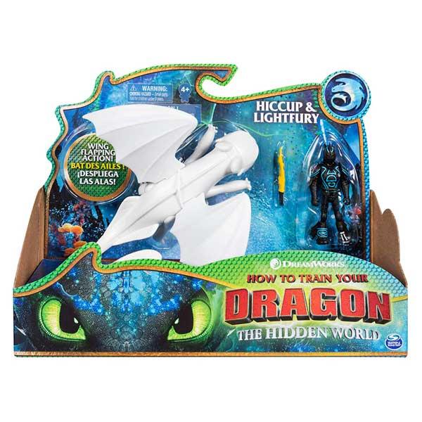 Dragones de Berk Pack 2 Figuras Vikingo y Dragón Furia Luminosa - Imagen 1