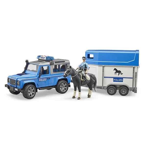 Bruder Land Rover con remolque y policia