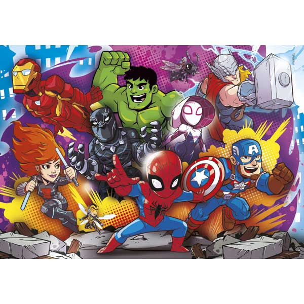 Puzzle 2x20 + 2x60 Superheroes - Imagen 1