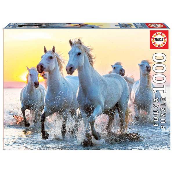 Puzzle 1000p Cavalls Blancs al Capvespre - Imatge 1