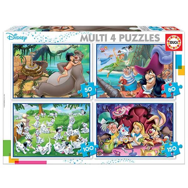 Disney Multi 4 Puzzles 50+80+100+150P Clásicos