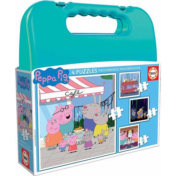 Puzzle 6+9+12+16p Peppa Pig con Maleta Verde