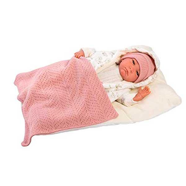 Muñeca Reborn 42 cm con Mantita Rosa
