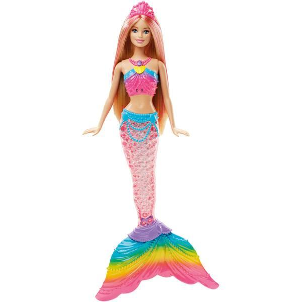 Muñeca Barbie Sirena Luces de Arco Iris