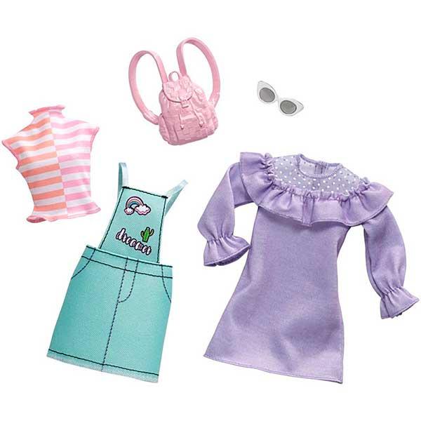 Barbie Vestidos Pack 2 Modas Ropa Lila - Imagen 1