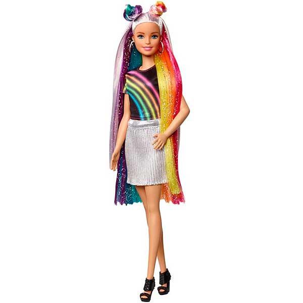 Muñeca Barbie Mechas Arco Iris