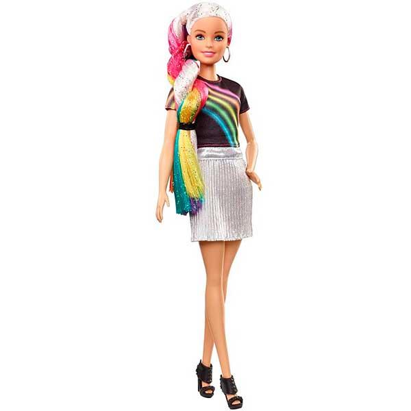 Muñeca Barbie Mechas Arco Iris - Imagen 4