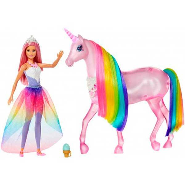 Barbie Unicornio Luces Mágicas e Boneca Barbie Dreamtopia