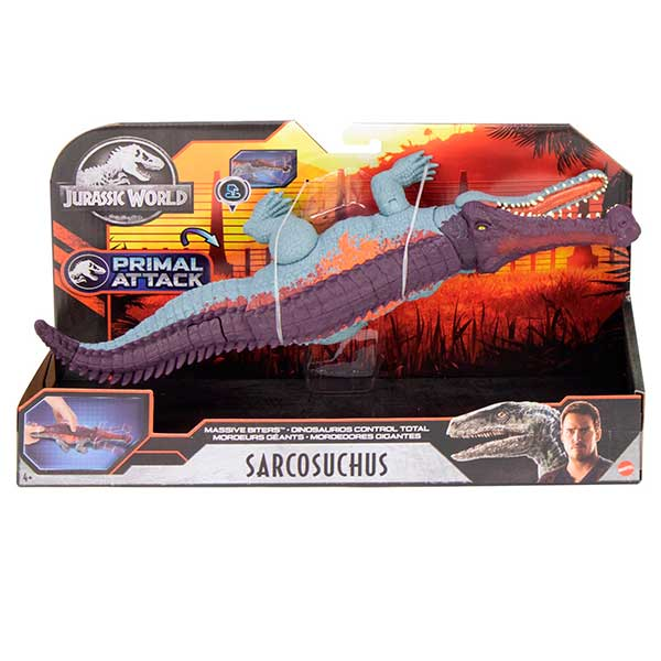 Jurassic World Dinosaurio Sarcosuchus Mordedor Gigante - Imagen 5