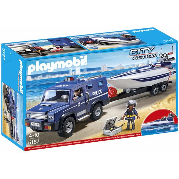 Cotxe de Policia amb Llanxa Playmobil - Imatge 1