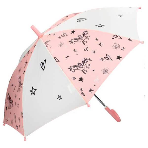 Guarda-Chuva Infantil Unicórnio Rosa e Branco