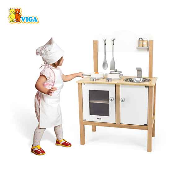 Cocina Infantil de Madera Blanca con Accesorios 84cm - Imagen 8